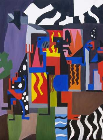 Buy Bicloptochotik Colorful Cubist Painting