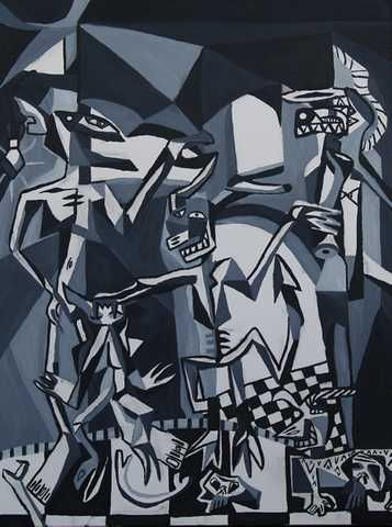 My Inner Demons - Black And White Cubist Oil Painting