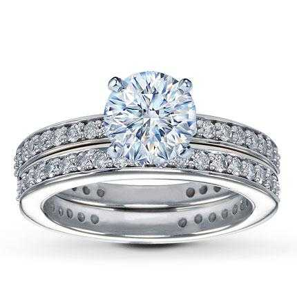 Engagement Ring With Diamond Wedding Band And Grooms Band - $3500