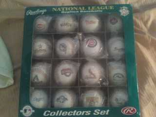 Signed Baseballs And National League Baseballs Set