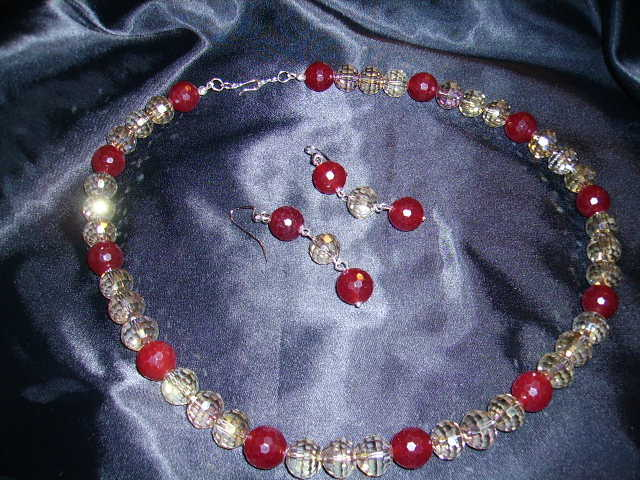 Faceted Rainbow Ab Crystal Rondelle Beads With Red Jade And Earri