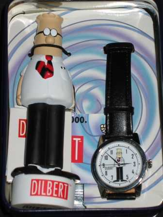 Men's Fossil Ltd Ed Dilbert Watch & Figurine In Tin