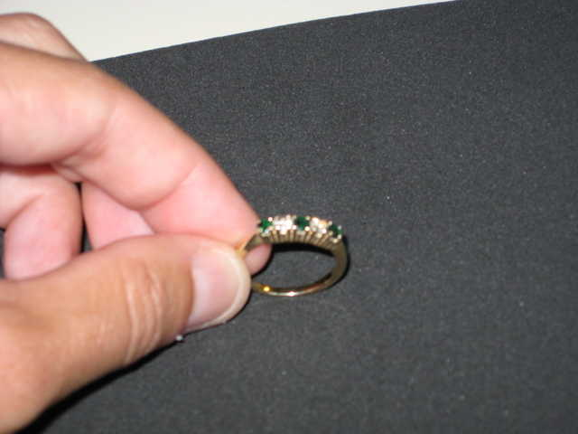 14k Diamond Emerald Ring