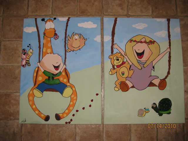 Hand Made Canvas Drawing For Kids
