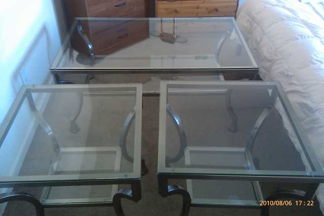 Glass Coffee Table And Matching End Tables