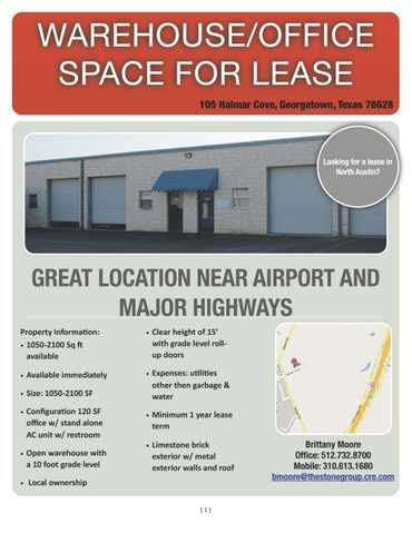Dont Miss Out! Warehouse / Office Space Available In Georgetown!