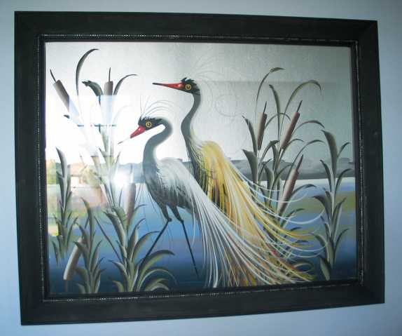 Original Painting On Foil 1940 – 2 Cranes In Reeds.