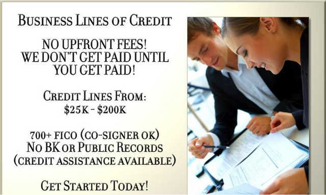 $25k - $200k Business Lines Of Credit Available!