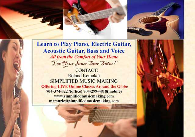 Learn To Play Piano, Guitars, Bass, Voice & Djembe