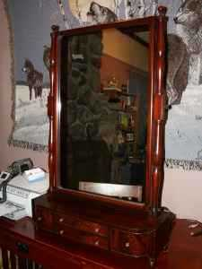 Antique Toilet Mirror With Drawers, Mahogany