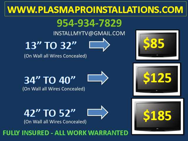 $85 Next Day Plasma Flat Lcd Tv Home Theater Installation