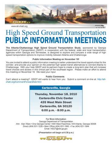 Gdot High Speed Rail Public Meeting
