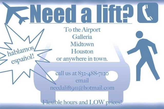 Need A Lift To The Airport Or Anywhere In Town ?