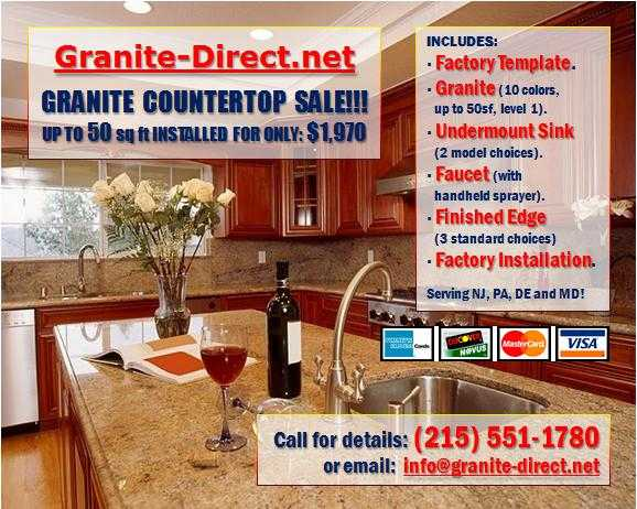 Granite Countertops: Up To 50sf Installed W / Sink And Faucet