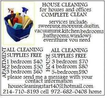 House Cleaning Start $40