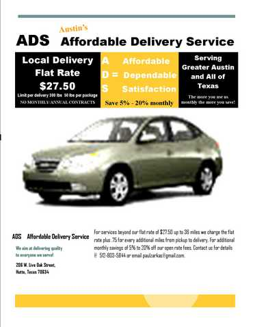 Austin Affordable Delivery Service Serving Central Texas