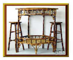 Bamboo Bar Set Incl. 1 Bar & 2 Barstools