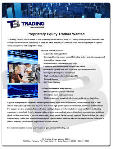 Proprietary Equity Traders Wanted