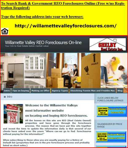 Willamette Valley Bank Owned Foreclosures Online
