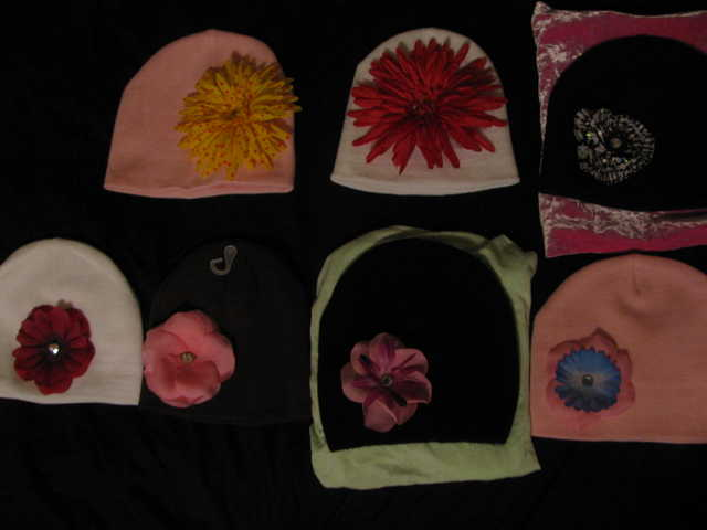 Flower Beanies, Clips, Barrettes, Decorative Broaches
