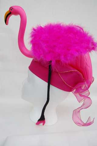 Flamingo Hat With Feathered Wings And Pink Stiletto Heels