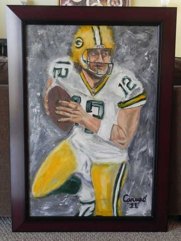 Green Bay Packers Aaron Rodgers Abstract Painting