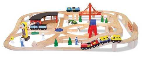 Melissa And Doug Deluxe Wooden Railway Set - $40