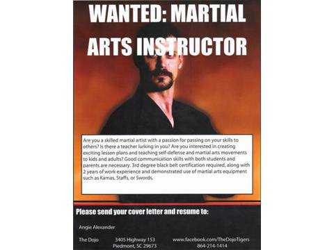 Wanted: Martial Arts Instructor