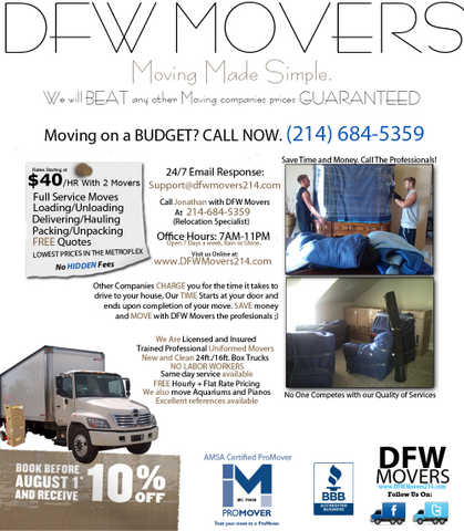 Dfw Movers. Save Money On Your Move Today! No Hidden Fees
