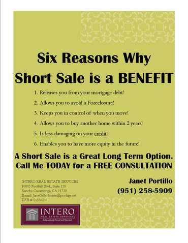 No Cost Short Sale - > Call 4 Details, Ask For Janet Portillo (951