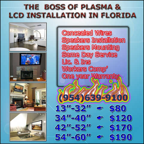 Hollywood. Fl:. Led Tv & Speakers On Wall Installation Service