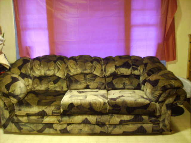 Black And Silver Velvety Couch And Loveseat For Sale