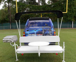 Tailgate Party Hitch Mounted Bench With Bimini Top, Table, Ez To
