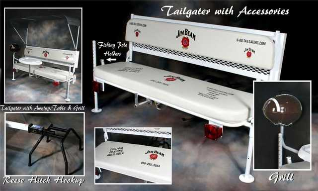 Tailgate Party Hitch Mounted Bench With Bimini Top, Table