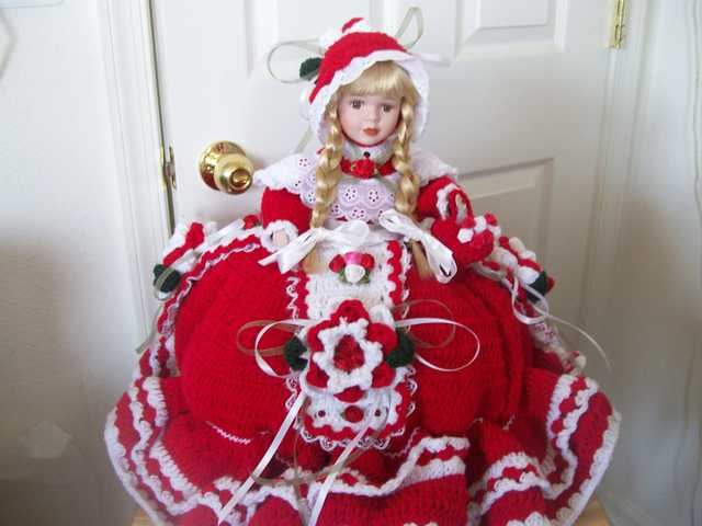 16 Tall Handmade Crochet Porcelain Doll With Attached Pj Bag