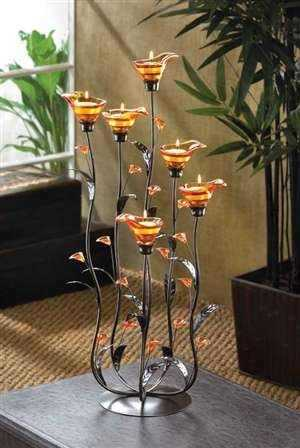 Romantic Lighting Amber & Iron Tealight Holder / Stand