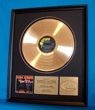 Tom Jone Authentic Gold Record Award - $2,395.00