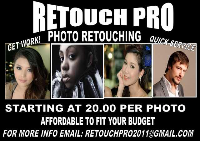 Photo Retouching Starting @ 20.00 Per Photo! - Actors - Models -