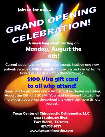 Join Us For Our Grand Opening Celebration! Free Adjustments And M
