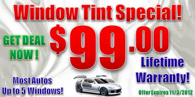 Up To 5 Auto Windows Tinted Only $99.00!