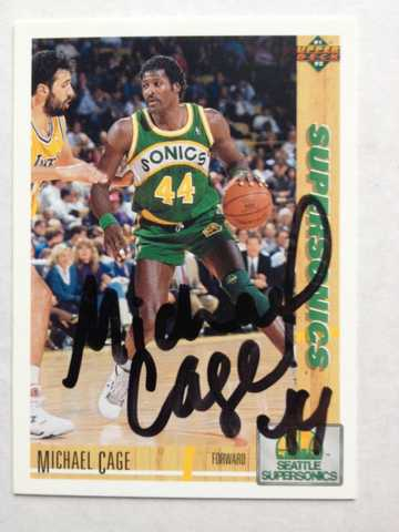 Nba Seattle Michael Cage Signed Autograph Basketball Card