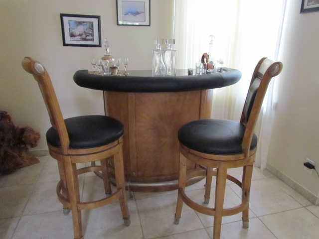 Bar, Bar Stools And Lighted Bar Cabinet
