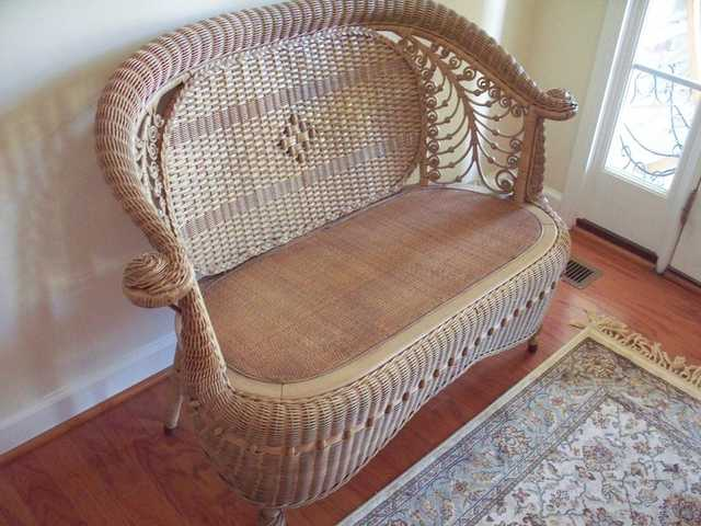 Antique 1898 Wicker Victorian Love Seat