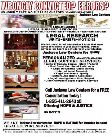 Wrongly Imprisoned? Let Jackson Law Centers Help!
