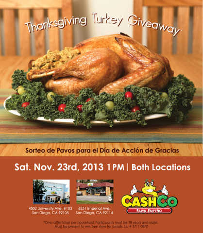 Cashco Pawn Thanksgiving Turkey Giveaway