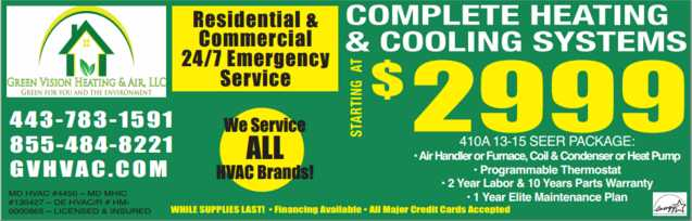 Complete Heating And Cooling Systems