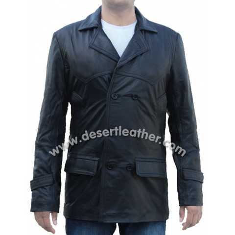 Movie Doctor Who Coat Black Real Leather Jacket For Sale
