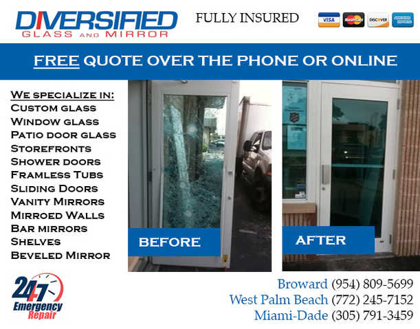 A_david, Fl:. Broken Window Repair. Mirror Repair And Installatio