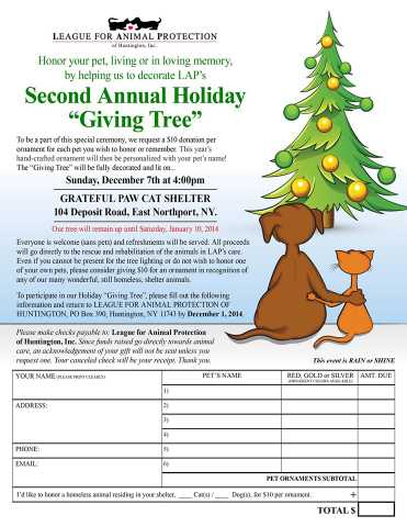 Giving Tree Lighting To Benefit The League For Animal Protection