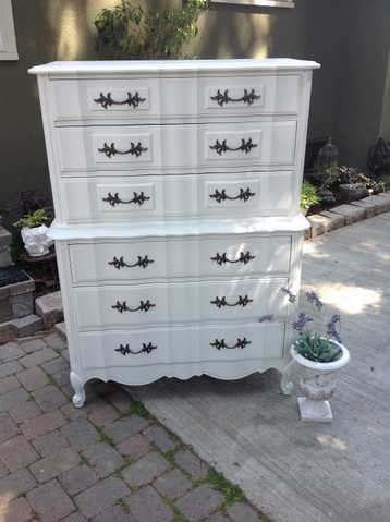 Vintage French Provincial Serpentine 6 Drawer Tallboy Dresser